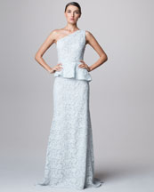 Carmen Marc Valvo One-Shoulder Lace Peplum Gown