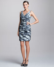 Carmen Marc Valvo Metallic Ruched Cocktail Dress