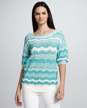 M Missoni Zigzag Stripe Knit Sweater