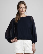 Alice + Olivia Elayne Pleat-Sleeve Silk Blouse