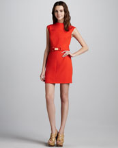 Milly Daphne Belted Dress, Persimmon