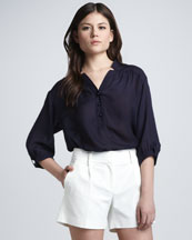 Milly Camila Button-Front Blouse