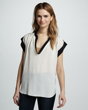 Rebecca Taylor Two-Tone Scoop-Neck Silk Tee