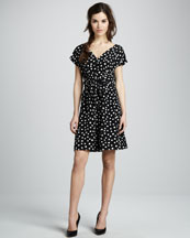 Rebecca Taylor Polka-Dot Silk Tie-Waist Dress