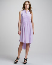 Rebecca Taylor Sleeveless Pintucked Shirtdress