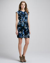 Rebecca Taylor Hawaii Printed Peplum Dress