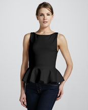 Alice + Olivia Sleeveless Ponte Peplum Top, Black