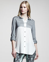 10 Crosby Derek Lam Colorblock Combo Shirt