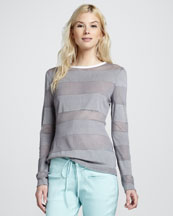 Cut25 Long-Sleeve Striped Top