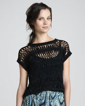 Cut25 Cap-Sleeve Macrame Sweater, Jet Black
