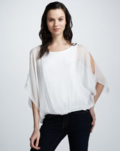 Alice + Olivia Pool Batwing Silk Top