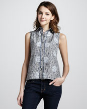 MARC by Marc Jacobs Jamie Dot Printed Sleeveless Blouse