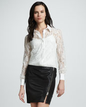 Haute Hippie Lace Button-Down Blouse