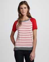 Joie Kadee Striped Tee, Red