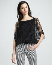 Alice + Olivia Cheryl Sheer Lace Top