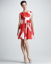 Alice + Olivia Essie Printed Taffeta Dress