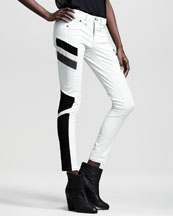 rag & bone/JEAN Halifax Leather-Panel Motocross Jeans
