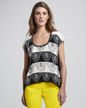Nanette Lepore Two-Step Embroidered Top
