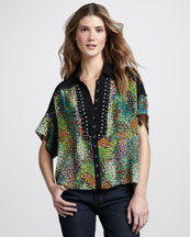 Nanette Lepore Buckaroo Button Short-Sleeve Blouse