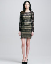 Catherine Malandrino Long-Sleeve Tulle  Dress