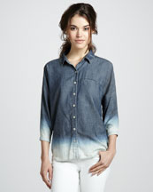 7 For All Mankind Bleached Ombre Chambray Shirt