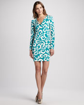 Diane von Furstenberg Reina Silk Jersey Long-Sleeve Dress