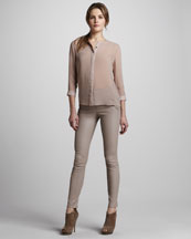J Brand Ready to Wear Claudette Slim Leather Pants, Dusk