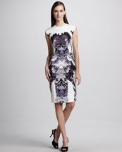 Monique Lhuillier Crane-Print Sheath Dress