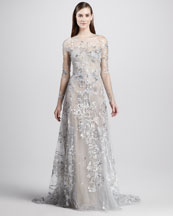 Monique Lhuillier Embroidered Illusion Gown
