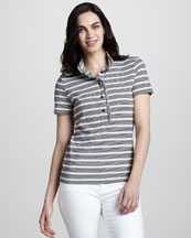 Tory Burch Lidia Striped Polo