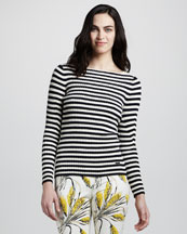 Tory Burch Verona Striped Ribbed Sweater