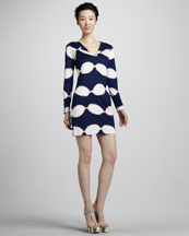 Diane von Furstenberg Reina Long-Sleeve Shibori Jersey Dress