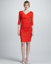 Diane von Furstenberg Bentley Three-Quarter-Sleeve Ruched Dress
