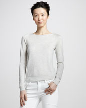 Diane von Furstenberg New Noa Zip Sweater, Gray/Pink