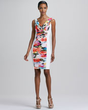 Carmen Marc Valvo Ruched Floral-Panel Cocktail Dress