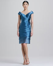 Carmen Marc Valvo Tiered Satin Cocktail Dress
