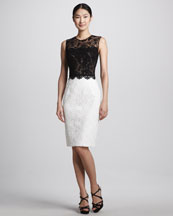 David Meister Signature Two-Tone Lace Cocktail Dress