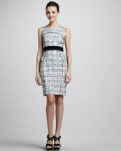 Milly Piped Plaid Sheath Dress