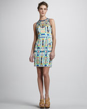 Milly Printed Mesh-Top Dress