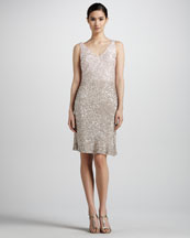 Pamella Roland Gradient Sequined V-Neck Dress