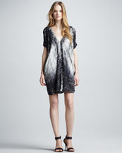 Vince Graffiti-Print Silk Dress