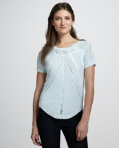 Autumn Cashmere Reversible Open-Stitch Top