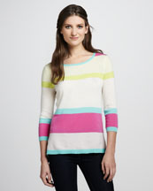 Autumn Cashmere Striped High-Low Cashmere Sweater