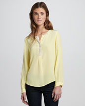 Joie Colorblock Silk Top, Pale Lemon