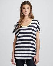 Joie Maddie Striped Linen Slub Top