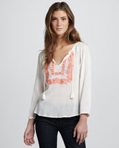 Joie Meliana Long-Sleeve Peasant Blouse