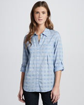 Joie Pinot Tonal Plaid Button-Down Top