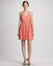Alice + Olivia Odette Cross-Back Lace Dress
