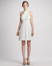 Alice + Olivia Martine Wrap Tulip Keyhole Dress, White