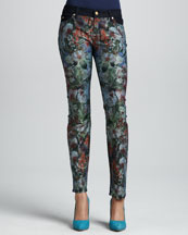 7 For All Mankind Tropical-Print Slim Cigarette Jeans